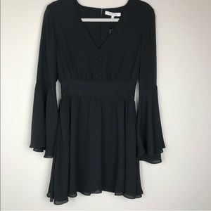 Alexis Black Button Bell Sleeve Dress NWOT